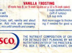 Crisco Vanilla Frosting