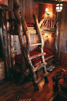 rustic bunk beds with ladder would love this look in the bunk house! Cabin Homes, Log Homes, Rustic Bunk Beds, Rustic Bed, Bedroom Rustic, Lodge Bedroom, Space Saving Bedroom, Cool Bunk Beds, Loft Beds