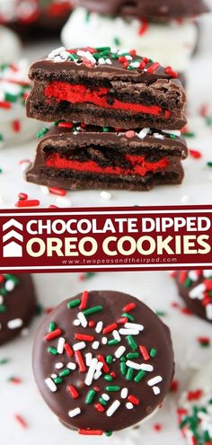 Oreo cookies and chocolate? A dream come true! Chocolate Dipped Oreo Cookies are a holiday staple. These Christmas cookies are a highly customizable and fun activity for kids! Add some holiday… More Thanksgiving Desserts, Holiday Baking, Christmas Desserts, Christmas Baking, Christmas Cookies, Christmas Ideas, Chocolate Dipped Cookies, Chocolate Chip Recipes, Oreo Cookies