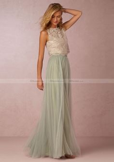 Tulle Long/Floor-Length A-Line/Princess Sleeveless Scoop Neck Zipper Bridesmaid Dress With Appliqued