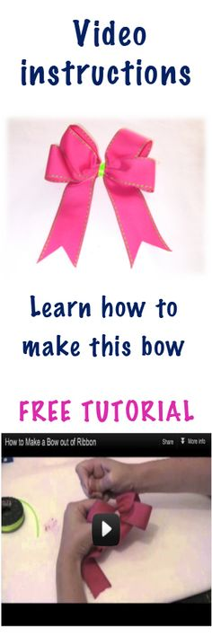 How to make a basic ribbon bow video tutorial - http://www.howtomakehairbowseasy.com/how-to-make-a-bow-out-of-ribbon-video.html  Step by step tutorial!