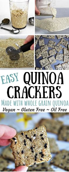 This gluten free cracker recipe is unbelievably easy! You will be amazed that a few simple ingredients of quinoa, water, and spices can turn into a delicious cracker! These crackers are vegan, gluten Healthy Crackers, Gluten Free Crackers, Homemade Crackers, Healthy Vegan Snacks, Vegetarian Appetizers, Gluten Free Baking, Vegan Gluten Free, Gluten Free Recipes, Vegan Recipes