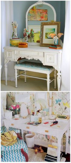I'm looking for a vanity for my tiny master bedroom and these two examples are totally inspiring.