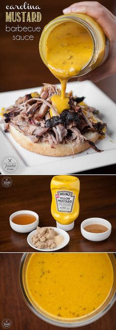 Ditch your standard BBQ sauce and whip up a batch of this easy to make, spicy, & flavorful Carolina Mustard Barbecue Sauce next time you fire up the grill. Soy sauce for worstecher, white vinegar and no ketchup! oh, and maple syrup instead of honey. Grilling Recipes, Cooking Recipes, Barbecue Sauce Recipes, Vegetarian Grilling, Healthy Grilling, Smoker Recipes, Rib Recipes, Vegetarian Food, Cooking Tips