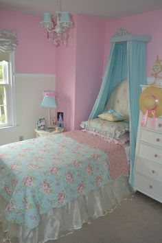 Pretty blue & pink girl's room.... But with gray and pink or teal