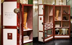 Francesco Russo, emergent shoes designer, chose Bertoni 1949 to make a traveling display for the launch of his collection in 2014. Thus the trunk Bertoni for Francesco Russo was born.