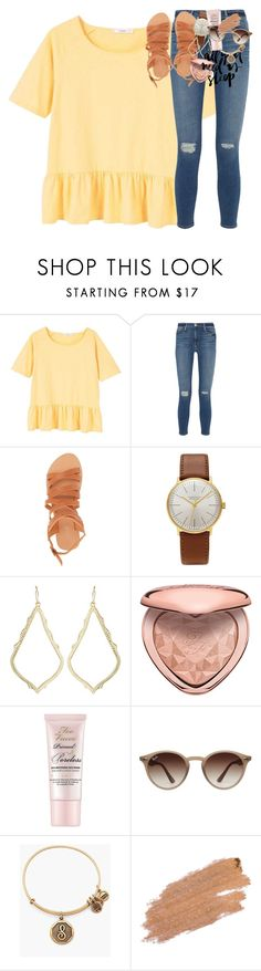 """""""make it like your birthday everyday"""" by classynsouthern ❤ liked on Polyvore featuring MANGO, Frame, Charlotte Russe, Junghans, Kendra Scott, Too Faced Cosmetics, Ray-Ban, Alex and Ani and Jane Iredale"""
