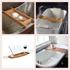 Teak Tub Caddy // Tombolo 10 Aquala Bamboo Bathtub Caddy // Modern Bathtub Tray Caddy