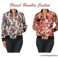 Romantic and Sporty at the same time, autumn floral jacket. www.lifoapparelusa.com