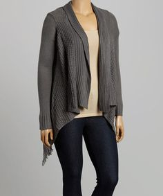 This Gray Shawl Collar Open Cardigan - Plus is perfect! #zulilyfinds