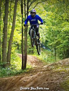 Blue Mountain - DH MTB Trail - Ontario Bike Trails Mountain Resort, Mountain Biking, Wooden Ramp, Mtb Trails, Trail Guide, Full Face Helmets, Life Is An Adventure, Blue Mountain, Wild Life
