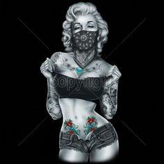 Marilyn Monroe with Bandana | Sexy Shorts Marilyn Monroe Hoodie Gangsta Playboy…