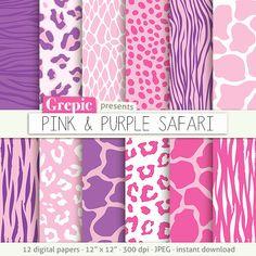 """Purple animal print: digital paper """"PINK & PURPLE SAFARI"""" purple zebra print  tiger skin  giraffe  leopard patterns  pink animal skin #digitalpaper #texture"""