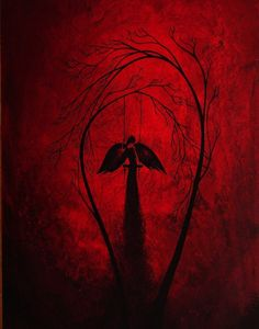 Crimson Red Dark Fantasy Print  Heartache by BestArtStudios2