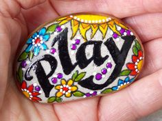 play more / relax / painted rocks / painted stones / hand painted rocks / sandi pike foundas/  sea stones / beach stones by LoveFromCapeCod on Etsy