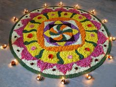 A beautiful onam pookalam