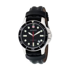 Wenger Men's 72325 Battalion III Diver Black Dial Black Leather Watch Wenger. $180.00. From the makers of the legendary Swiss army knife. Screw down crown; full sweep second hand. Water-resistant to 660 feet (200 M). Three year warranty. Comes with a metal presentation case. Save 10% Off!