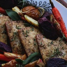 Roasted Tofu and Vegetables. Recipe on blog. #tofu #roastedvegetables #savoryfood #vegetarian #healthyfood #petitworldcitizen