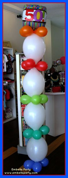 Columns are a great alternative to your standard balloon arrangement. Perfect for smaller spaces and avoid little ones playing with balloons.