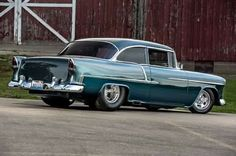 This 1955 Chevrolet Bel Air Packs 512 Cubes, Stacks and the Perfect Stance - Hot Rod 1955 Chevy, 1955 Chevrolet, Chevrolet Bel Air, Chevy Ssr, Chevrolet Impala, Old School Muscle Cars, Chevy Muscle Cars, Cool Old Cars, Fancy Cars