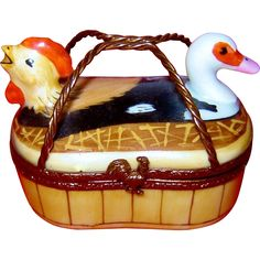 Limoges Basket Hen Rooster Duck Trinket Box Offered by Ruby Lane Shop The Vintage Carousel