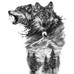Clock Tattoo Design, New Tattoo Designs, Wolf Tattoo Design, Tattoo Design Drawings, Wolf Design, Wolf Sleeve, Wolf Tattoo Sleeve, Full Sleeve Tattoo Design, Sleeve Tattoos