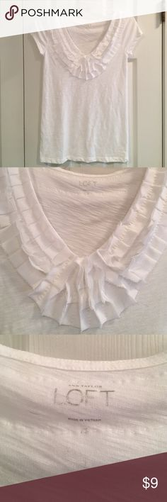White tee from LOFT White short sleeved shirt from LOFT. Ruffled V Neck. Easy piece to dress up or down. Looks really cute under a Cardigan too. Size XS. Excellent condition. LOFT Tops