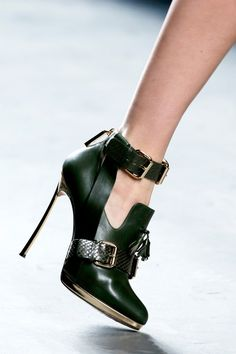 Casadei for Prabal Gurung, black buckled ankle Booties with Stiletto Heels Fall 2013 #Shoes