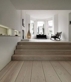 white washed oak floors ~with pale grey walls White Washed Oak, White Oak, White Washed Floors, White Walls, Casa Loft, Interior Architecture, Interior Design, Timber Flooring, Timber Planks