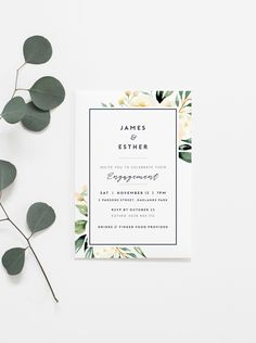 Excited to share the latest addition to my #etsy shop: Neutral Foliage Engagement Invitation, printable wedding invitation, minimal invitation, chic engagement party, modern wedding, chic wedding http://etsy.me/2FYwRCu #papergoods #white #engagement #green #engagementp