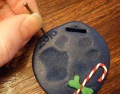 Christmas Tree Paw Print Ornaments