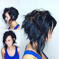 This Edgy Angled Asymmetric Razor Cut Bob with Wavy Texture and Black Color is a great cut for someone seeking versatility. This angled shoulder length bob can be styled sleek and straight, with textured waves or curls, or with a simple blowout for body and movement. It is also long enough to create updos and braids. Styling tips for this textured bob and other similar medium length haircuts, lobs, and hair color ideas can be found at Hairstyleology.com