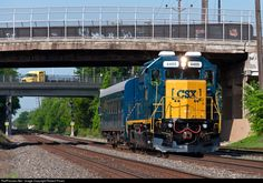 """Conrail OCS - A one-car office car special consisting of a former Conrail GP40-2 and CSX business car """"Georgia"""" passes through Hillside on a beautiful spring morning. This train operated from Manville Yard to the North Jersey terminal area via the Lehigh Line and later returned to Manville via the Garden State Secondary and Port Reading Secondary. CSXT 4405 (ex-CR 3293) was either recently painted or thoroughly cleaned before being assigned to this train."""