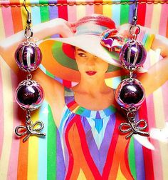SALE Retro Betsey Johnson Inspired Shiny Metallic Lavender Ball & Striped Magenta Transparent Ball Drop Earrings w/Silver Knotted Bow Charm Dangles FREE SHIPPING - Only $6.95 on Etsy! https://www.etsy.com/listing/234211364/sale-retro-betsey-johnson-inspired