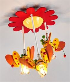 Childrens Colourful Bee & Flower Flush Light
