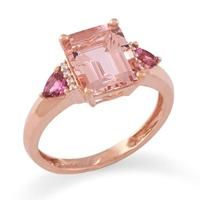 Morganite Ring with Diamonds in 14K Rose Gold [039-00726] $785.00