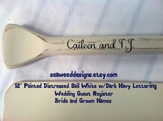 "Pair(2) 58"" Paddles Personalized Painted Bride and Groom Names and Wedding Date for Wedding Guest Register"