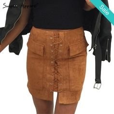 Lace Up Suede Skirt -                             Lace Up Suede Skirt 2 PocketsDresses Length: Above Knee, MiniWaistline: Empire                          - On Sale for $32.00 (was $39.00)