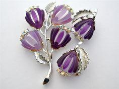 Vintage Pakula Purple Rhinestone Set Brooch Earrings Flower Original Box