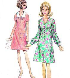 1970s Dress Pattern Simplicity 8706 Mod V Neck Day por paneenjerez