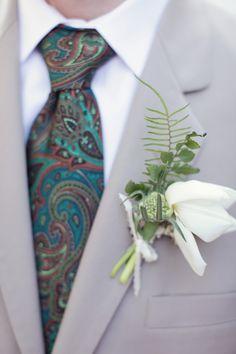 Paisley + boutonniere - Music-Themed Fairytale Wedding captured by Brandon Kidd - via ruffled