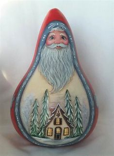 Country Santa Gourd with Cottage & Winter scene - Hand Painted Folk Art Gourds Cypress Knees, Halloween Gourds, Gourds Birdhouse, Hand Painted Gourds, Tole Painting Patterns, Gourd Art, Alpacas, Winter Scenes, Heavenly