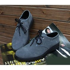 Cool Men Grey Gray Leather Retro Vintage Style Dress Shoes for Less  SKU-1100038