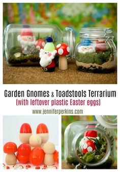 DIY garden gnomes and toadstool terrariums made from leftover plastic Easter eggs by Jennifer Perkins #JenniferPerkins #diy #diyproject #crafts #craftsforkids #crafty #CreateEveryday #DoItYourself #gnomes #garden #terrarium #recycle #upcycle Plastic Easter Eggs, Easter Crafts For Kids, Toddler Crafts, Recycled Garden Crafts, Upcycled Crafts, Recycled Art, Recycled Fabric, Recycling For Kids, Do It Yourself Organization