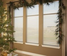 Dress your windows for the holidays with the lustrous beauty of Silhouette® window shadings ♦ Hunter Douglas window treatments #HolidayDecor