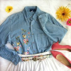 """CLOSET SALE Vintage oversized denim buttonup Excellent condition! Floral and bird design on front. Cute and playful! Wear tucked in for a classic look or in bottom the last few buttons and tie in front for something more trendy! 100% cotton. Labelled size small but oversized! Use measurements: armpit to armpit measures 20"""". Length shoulder down 29 inches.  Bundle for best deals! Hundreds of items available for discounted bundles! You can get lots of items for a low price and one shipping…"""