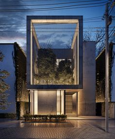 lines design reveals urban garden through mesh screen of cube house
