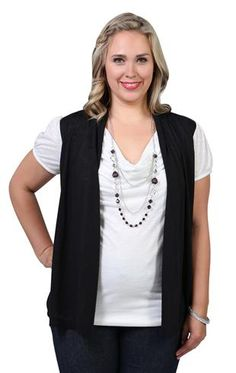 plus size drape front cozy 2fer with necklace $20.72
