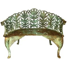Antique English Late 19th Century Green Cast Iron Laurel Leaves Garden Bench | From a unique collection of antique and modern Patio and Garden Furniture at https://www.1stdibs.com/furniture/building-garden/garden-furniture/.