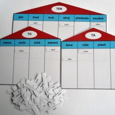 Domečky - vzory podstatných jmen Teacher Hacks, Classroom Activities, Montessori, Bar Chart, Alphabet, Language, Study, Teaching, Motivation
